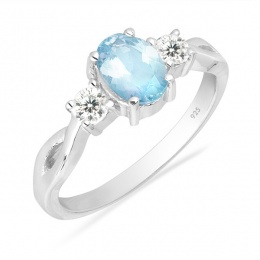 Alivia deep Aquamarine - Сребърен пръстен с Аквамарин 0.66ct и Циркони R012108AQ-Естествени камъни