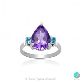 Frieda  - Сребърен пръстен с Аметист и Swiss Blue Топаз 13811812615-Естествени камъни