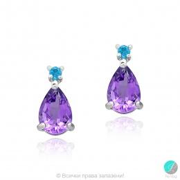 Frieda - Сребърни обеци с Аметист и Swiss Blue Топаз 13811812616-Естествени камъни