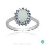 Kalis - Сребърен пръстен с бял Опал и Танзанит 13811812702-Естествени камъни