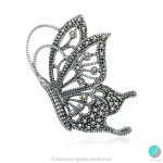Kalisa - Сребърна брошка Пеперуда с Марказит 555655454-Естествени камъни