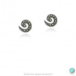 Kaliny - Сребърни обеци с Марказит 555656061-Естествени камъни