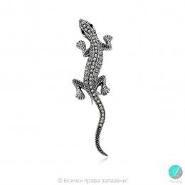 Kalisa - Сребърна брошка Саламандър с Марказит 555656441-Естествени камъни