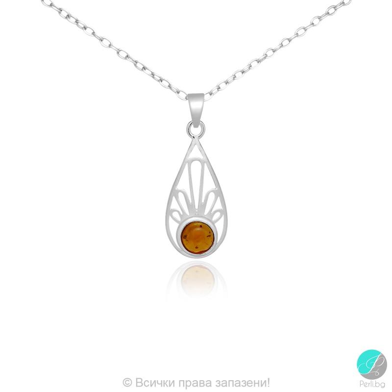 Arleta - Сребърна висулка Капка с Кехлибар 888835197-Естествени камъни