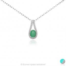 Livis - Сребърна висулка с Изумруд и Циркони 888835401E-Естествени камъни