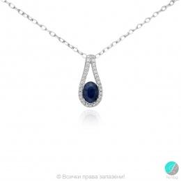 Livis - Сребърна висулка със Сапфир и Циркони 888835401S-Естествени камъни