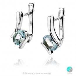 Gentle Aquamarine  - Сребърни обеци с естествен Аквамарин  1.27 ct E013661Aq-Естествени камъни