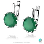 Enrica Green Onyx - Сребърни обеци с естествен Зелен Оникс 10.68 ct E014712Ga-Естествени камъни