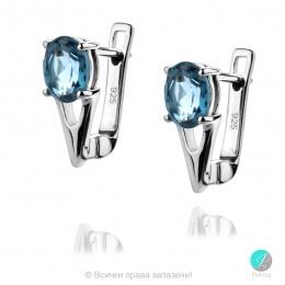 Angel London Blue Topaz - Сребърни обеци с естествен Топаз Лондон 1.91 ct E017066Lbt-Естествени камъни