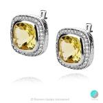 Adel Lemon Topaz - Сребърни обеци с естествен Лимонов топаз 12.12 ct и Циркони E013741Lt-Естествени камъни