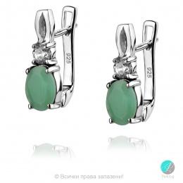 Royal Emerald - Сребърни обеци с естествен Изумруд 1.31 ct и Циркони E012108E-Естествени камъни