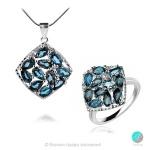 Adria London Blue Topaz - Сребърни обеци с естествен Топаз Лондон 5.4 ct E019969Lbt-Естествени камъни