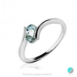 Gentle Aquamarine - Сребърен пръстен с естествен Аквамарин 0.61 ct R013661Aq-Естествени камъни