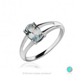 Aqua Marine Angel - Сребърен пръстен с естествен Аквамарин 0.58 ct R017066Aq-Естествени камъни