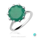 Enrica Green Onyx - Сребърен пръстен с естествен Зелен Оникс 4.94 ct R014712Ga-Естествени камъни