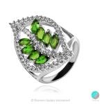 Joleen Chrome Diopsite - Сребърен пръстен с естествен Хром Диопсид 1.92 ct и Циркони R019981Ch-Естествени камъни