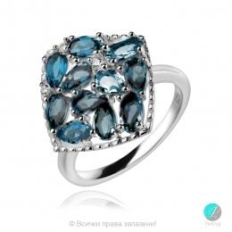 Adria London Blue Topaz - Сребърен пръстен с естествен Топаз Лондон 2.93 ct R019969Lbt-Естествени камъни