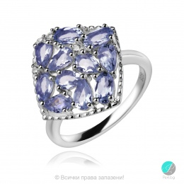 Adalina Tanzanite - Сребърен пръстен с естествен Танзанит 2.1 ct R019969Tz