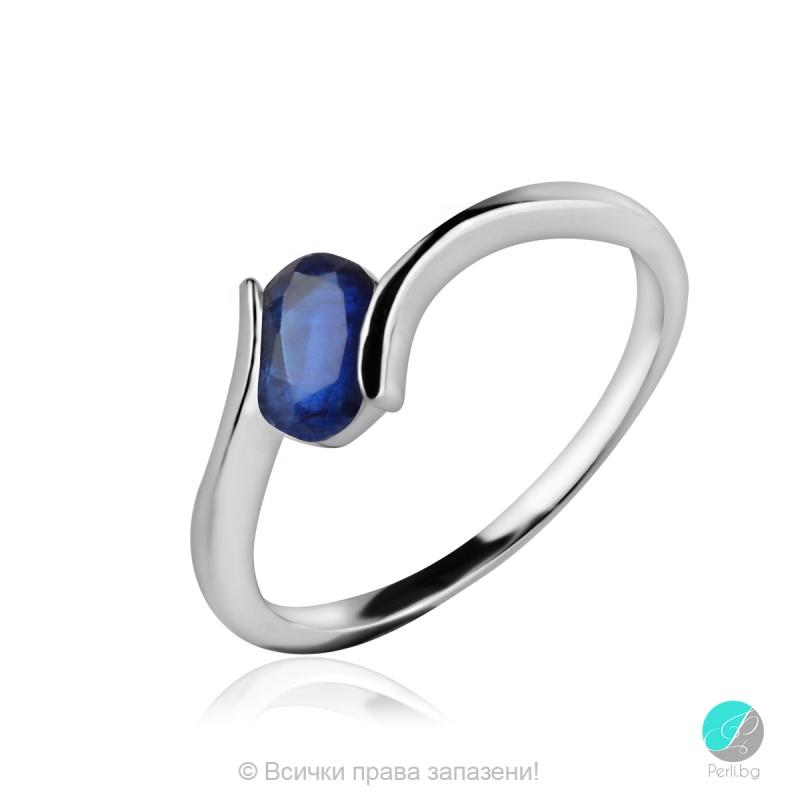 Gentle Blue Kyanite - Сребърен пръстен с естествен Син Кианит 1.23 ct R013661Kya-Естествени камъни