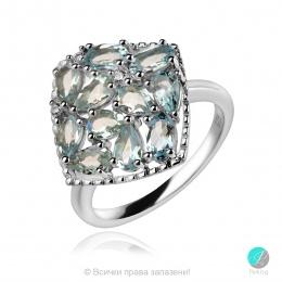 Adria Aqua Marine - Сребърен пръстен с естествен Аквамарин 1.95 ct R019969Aq-Естествени камъни