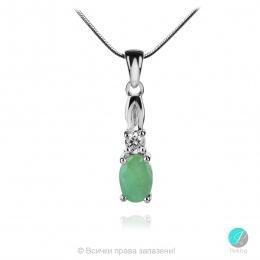 Royal Emerald - Сребърна висулка с естествен  Изумруд 0.64 ct и Циркони P012108E-Естествени камъни