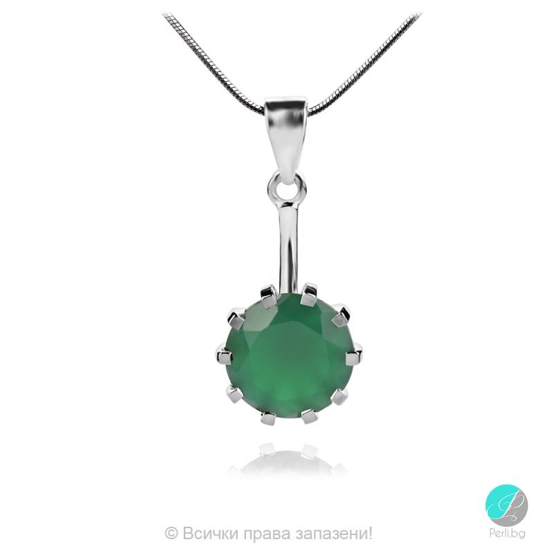 Enrica Green Onyx - Сребърна висулка с естествен Зелен Оникс 5.82 ct P014712Ga-Естествени камъни