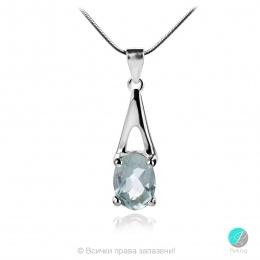 Aqua Marine Angel - Сребърна висулка с естествен Аквамарин 0.58 ct P017066Aq-Естествени камъни