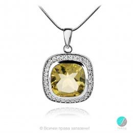 Adel Lemon Topaz - Сребърна висулка с естествен Лимонов топаз 6.12 ct и Циркони P013741Lt-Естествени камъни