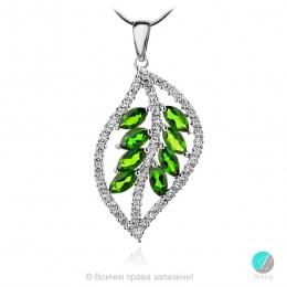 Joleen Chrome Diopsite - Сребърна висулка с естествен Хром Диопсид 1.97 ct и Циркони P019981Ch-Естествени камъни