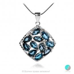 Adria London Blue Topaz - Сребърна висулка с естествен Топаз Лондон 2.93 ct P019969Lbt