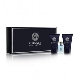 Мини комплект за мъже Versace Pour Homme - Тоалетна вода EDТ 5 мл + Афтършейв балсам ASB 25 мл + Душ гел SG 25 мл-Парфюми