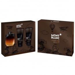 Комплект за мъже Mont Blanc Legend Night - Парфюмна вода EDP 100 мл + Афтършейв балсам ASB 100 мл + Душ гел SG 100 мл-Парфюми