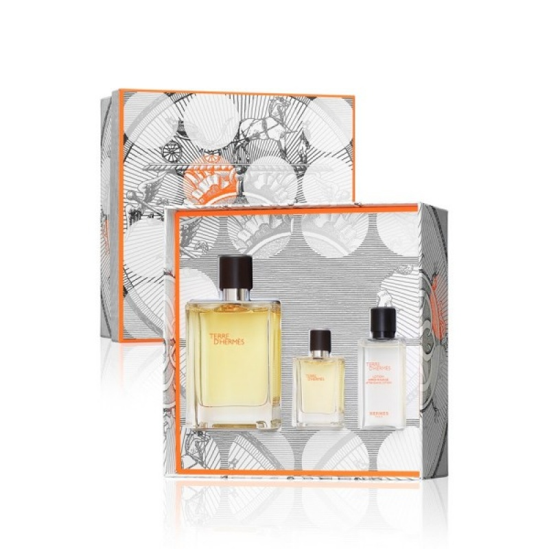 Комплект за мъже Hermеs Terre d`Hermes - Тоалетна вода EDT 100 мл + 12.5 мл + Афтършейв лосион ASL 40 мл-Парфюми