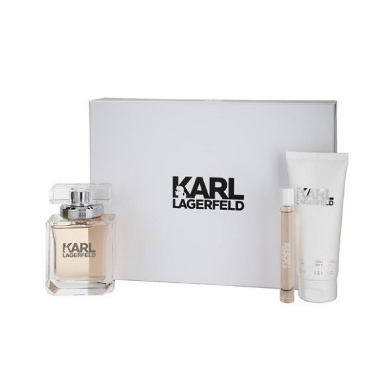 Комплект за жени Karl Lagerfeld for Her - Парфюмна вода EDP 85 мл + roll-on 10 мл + Лосион за тяло BL 100 мл-Парфюми