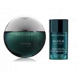 Комплект за мъже Bvlgari Aqva - Тоалетна вода EDT 100 мл + Дезодорант стик DEO 75 гр-Парфюми