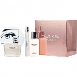 Комплект за жени Calvin Klein Women - Парфюмна вода EDP 100 мл + Mini EDP 10 мл + Лосион за тяло BL 100 мл-Парфюми