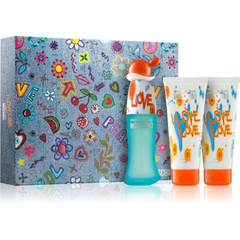 Комплект за жени Moschino I Love Love - Тоалетна вода EDT 50 мл + Лосион за тяло BL 100 мл + Душ гел SG 100 мл-Парфюми