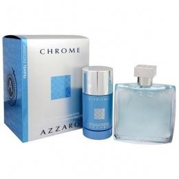Комплект за мъже Azzaro Chrome - Тоалетна вода EDT 100 мл + Део-стик 75 мл-Парфюми