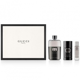 Комплект за мъже Gucci Guilty - Тоалетна вода EDT 90 мл + 15 мл + Део-стик 75 мл-Парфюми