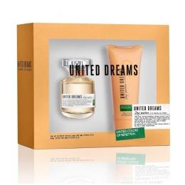 Комплект за жени Benetton UCB United Dreams Stay Positive - Тоалетна вода EDT 80 мл + Лосион за тяло BL 100 мл-Парфюми