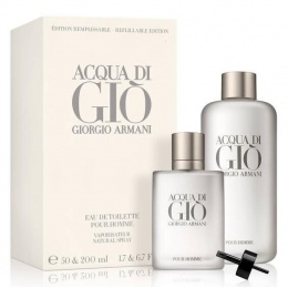 Комплект за мъже Giorgio Armani Acqua Di Gio - Тоалетна вода за мъже EDT 50 мл Refillable + 200 мл Refill-Парфюми
