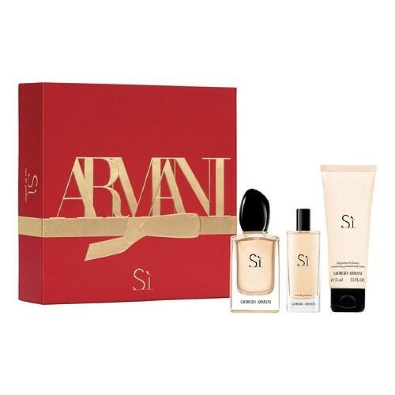 Комплект за жени Giorgio Armani Armani Si - Парфюмна вода EDP 50 мл + 15 мл + Лосион за тяло 75 мл-Парфюми