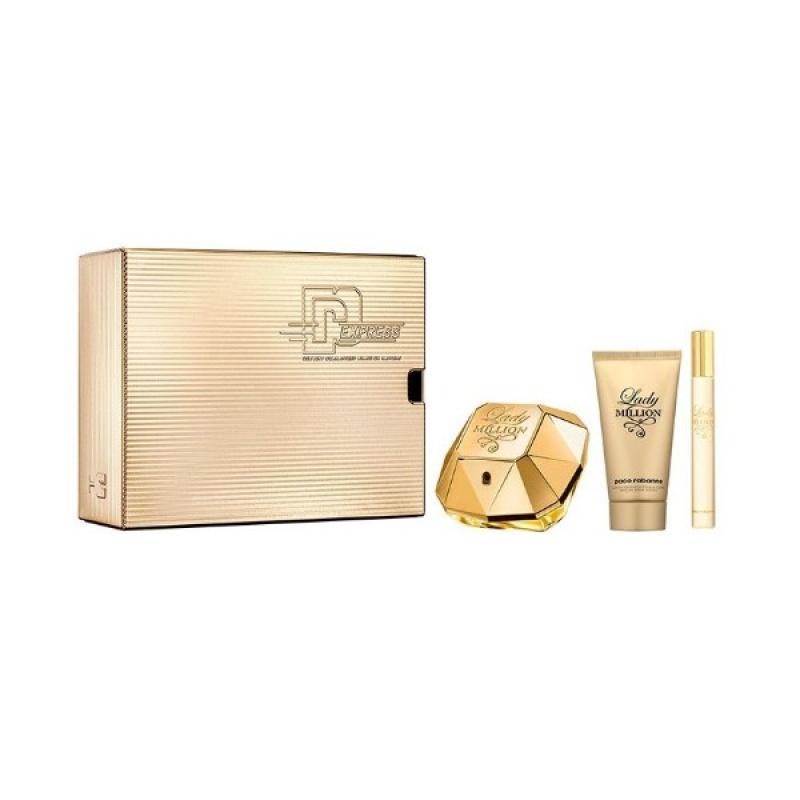 Комплект за жени Paco Rabanne Lady Million - Парфюмна вода EDP 50 мл + 10 мл +  Лосион за тяло BL 75 мл-Парфюми