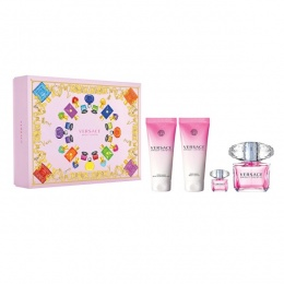 Комплект за жени Versace Bright Crystal - Тоалетна вода EDT 90 мл + 5 мл + Лосион за тяло BL 100 мл + Душ гел SG 100 мл-Парфюми