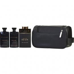 Bvlgari Man in black - Комплект за мъже - Парфюмна вода 100 мл + Афтършейв балсам 75 мл + Душ гел 75 мл + несесер-Парфюми