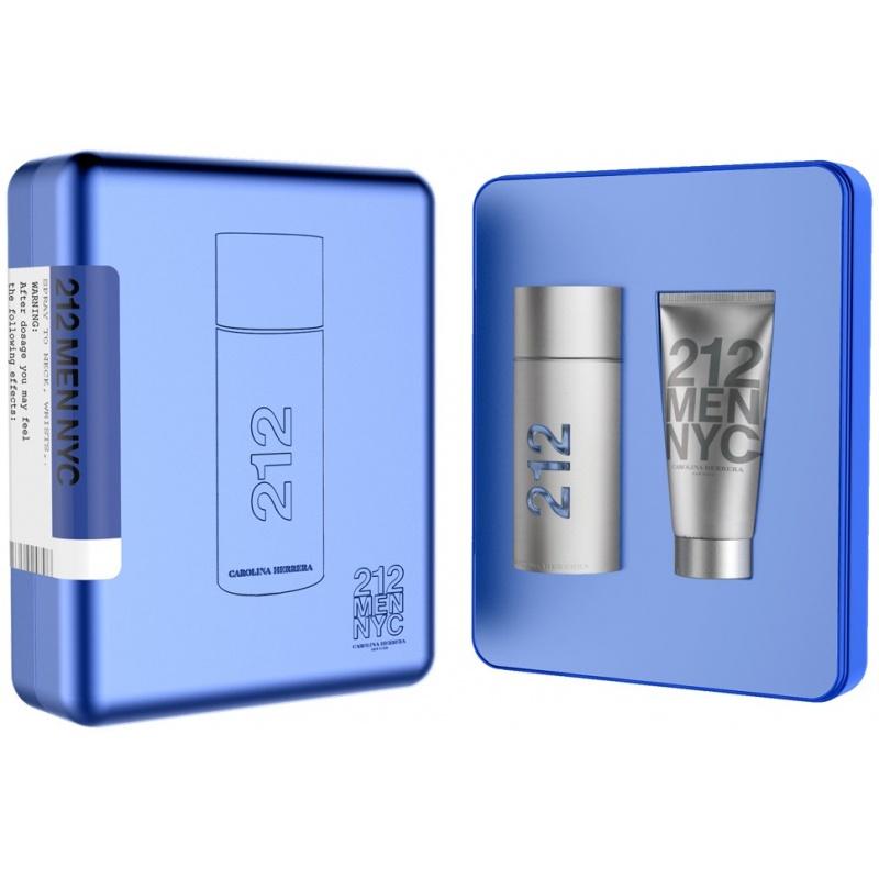 Комплект за мъже Carolina Herrera 212 - Тоалетна вода EDT 100 мл + Душ гел SG 100 мл-Парфюми