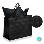 """Gift bag - Луксозна подаръчна торбичка """"Каре"""" - черна-"""