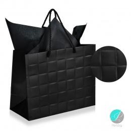"""Gift bag - Луксозна подаръчна торбичка """"Каре"""" - черна"""