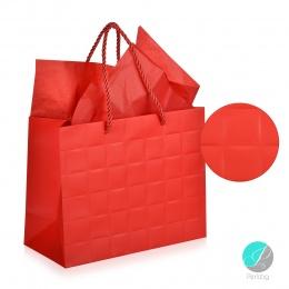 "Gift bag - Луксозна подаръчна торбичка ""Каре"" - червена"