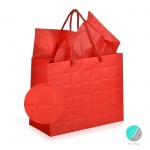 "Gift bag - Луксозна подаръчна торбичка ""Каре"" - червена -"